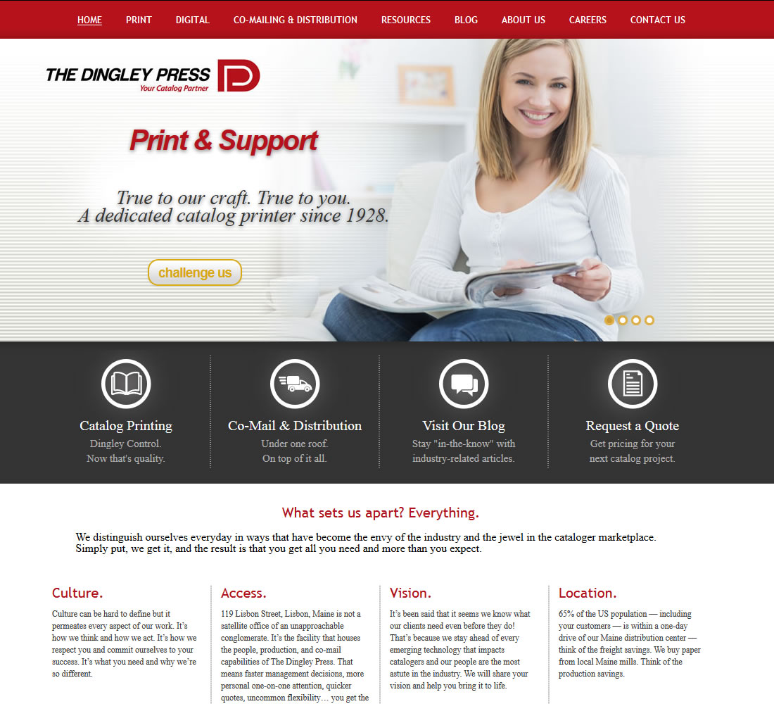 Dingley Press, WordPress powered website