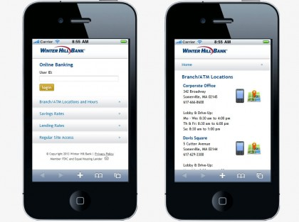 Winter Hill Bank Mobile Website (2 pages)